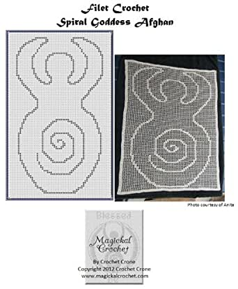 Amazon Spiral Goddess Filet Crochet Afghan Pattern Ebook
