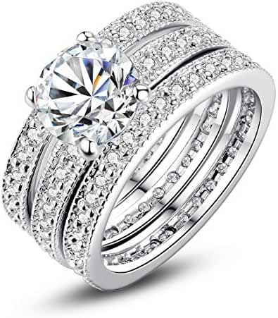 Bamoer 3 Pieces White Gold Plated Princess Cut Round Cubic Zirconia Diamond Halo Engagement Wedding Ring Sets for Women Girls Size 6 to 9