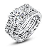 Best Bamoer Wedding Rings - Bamoer Bridal Set Rings Gold Plated Princess-cut Rings Review