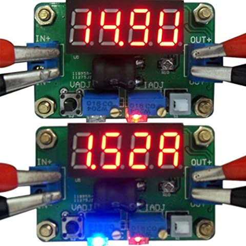 DEOK DC Buck Converter 2A Constant Volt Current with Red LED Voltmeter Ammeter by DEOK