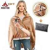 RTDEP USB Heated Shawl Heated Blanket Plush Throw Blanket with Pillowcase, Heated Throw Electric Lap Blanket as a Pillow, Heated Cape Lap Blanket Heated Flannel Blanket(Coffee)