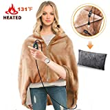 RTDEP USB Heated Shawl Heated Blanket Plush Throw Blanket with Pillowcase, Heated Throw Electric Lap Blanket as a Pillow, Heated Cape Lap Blanket Heated Flannel Blanket(Coffee)