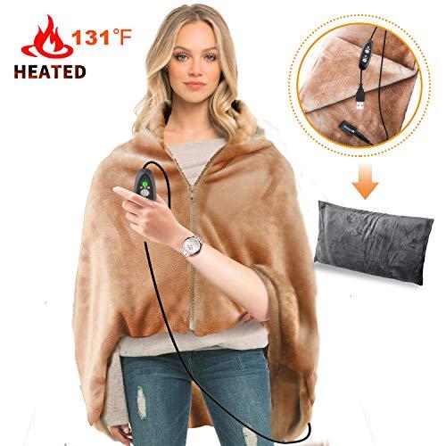 RTDEP USB Heated Shawl Heated Blanket Plush Throw Blanket with Pillowcase, Heated Throw Electric Lap Blanket as a Pillow, Heated Cape Lap Blanket Heated Flannel (Best Hs Electric Blanket)