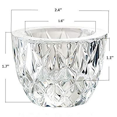 DONOUCLS Crystal Tealight Candle Holder Pack of 2 Party Dinner Hand-Cut 2.4'' X 1.7'' Clear