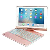 iPad Keyboard Case for 2018 iPad (6th Gen) -2017 iPad (5th Gen)- iPad Pro 9.7- iPad Air 2- Air 1,360 Rotatable -Auto Sleep Wake- Wireless Bluetooth-7 Color Backlit- iPad Case with Keyboard (Rose Gold)