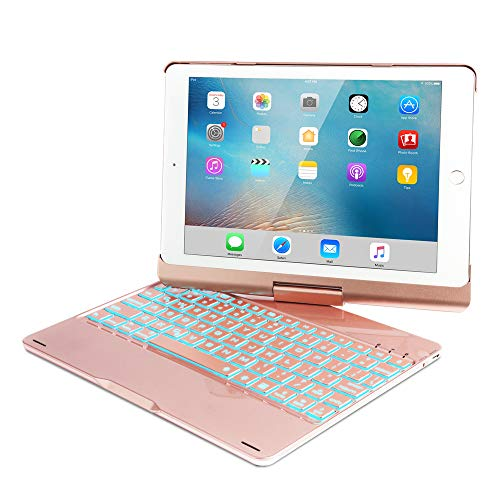 iPad Keyboard Case for 2018 iPad (6th Gen) -2017 iPad (5th Gen)- iPad Pro 9.7- iPad Air 2- Air 1,360 Rotatable -Auto Sleep Wake- Wireless Bluetooth-7 Color Backlit- iPad Case with Keyboard (Rose Gold) by KVAGO