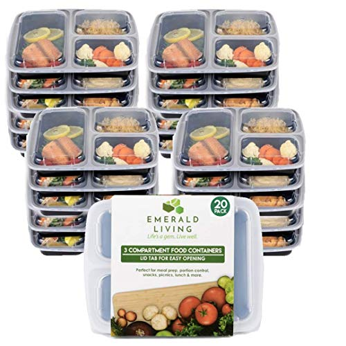 |20 pack| Meal prep food containers. Bento box set with lids. Stackable, reusable & BPA free plastic food/lunch box containers with dividers + EBook (20, 3 Comp) by Emerald Living