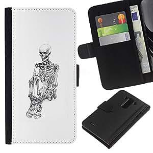A-type (Cráneo Esqueleto Deprimido Blanco Negro) Colorida Impresión Funda Cuero Monedero Caja Bolsa Cubierta Caja Piel Card Slots Para LG G3
