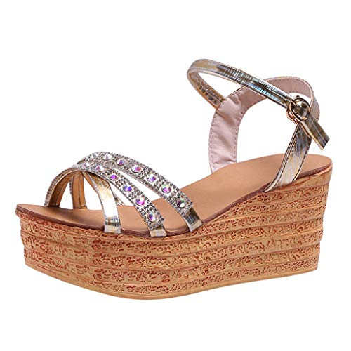 Zlolia Women's Rhinestone Platform Sandals Glossy Peep Toe Adjustable Strap Heeled Slingback Rubber Sole Wedge Slippers Gold