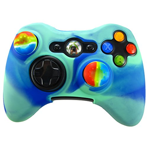 Pandaren Soft Silicone Skin for Xbox 360 Controller Set(Blue light green Skin X 1 + Thumb Grip X