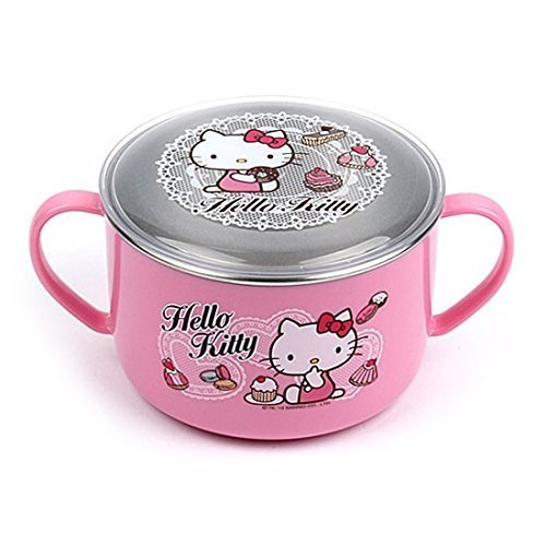 Lock & Lock Hello Kitty Baby Lace children Stainless steel noodle bowl with Handle and Lid LKT482 - Noodle Lace
