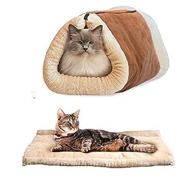 OWIKAR - Alfombrilla y cama para gato 2 en 1 túnel para mascotas pequeña, forro