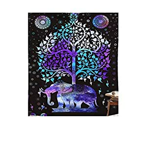Tree of Life Psychedelic Wall Hanging Elephant Tapestry, Multicolor
