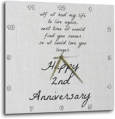 3dRose 2Nd Anniversary I Could Love You Longer on Faux Cotton-Like Background – Wall Clock, 15 by 15-Inch DPP_221893_3