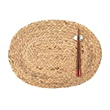 Wolala Home Country Style 2pcs Set Natural Herb Hand Woven Placemat Insulation Mat Table Mat Oval 12''x16''