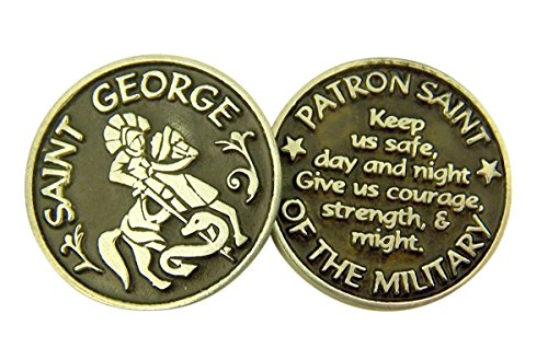 - Silver and Black Tone Patron of the Military Saint George Devotional Prayer Token, 1 1/8 Inch