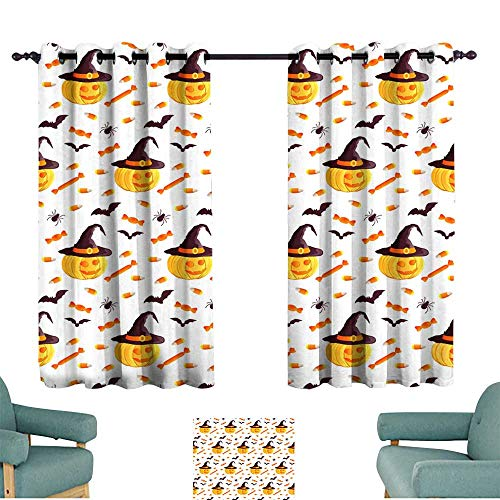 Polyester curtain Festive seamless pattern Halloween characters jack o lantern witch hat bat spider corn candy Vector illustration on a white background Usable for design packaging wallpaper textile]()