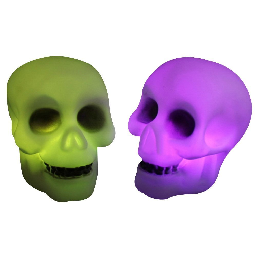 Halloween Colorful Flash LED Skull Night Light Lamp Decoration Gift Favor M Homesunshine