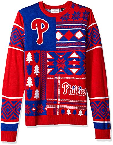 Philadelphia Phillies Patches Ugly Crew Neck Sweater Small ()