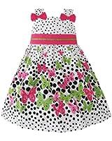 Sunny Fashion Girls Dress Butterfly Print Dot Green Party