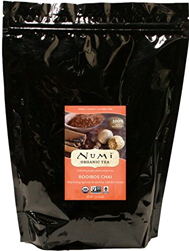 Numi Organic Tea Rooibos Chai, 16 Ounce Pouch, Caffeine Free Herbal Teasan (Packaging May Vary), Bulk Loose Leaf Rooibos Tea Blended with Chai Spices, Premium Organic Non-Caffeinated Tisane, Red Tea