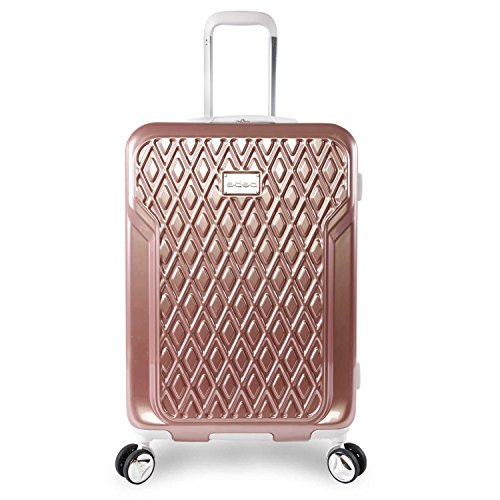 8 Wheel Embossed Geometric Diamonds Motif Solid Hardside Spinner Carry On Suitcase, Classic Gem Stone Theme, Hardshell, Lightweight, Elegant, Expandable, Trolley Handle Travel Bag, Rose Gold, Size 21'' by S & E