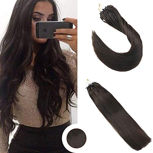 Ugeat 24inch 1g/strand 50Gram Micro Ring Hair Extensions Human Hair Darkest Brown Color 2 Real Human Hair Pre Bonded Hair Extensions