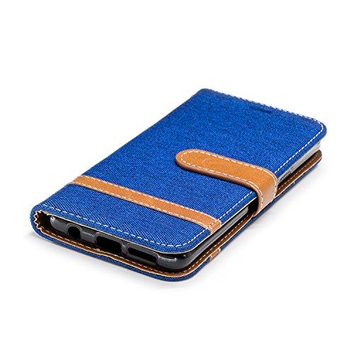 Galaxy S9 Hülle, Samsung Galaxy S9 Lederhülle, BONROY Handyhülle Samsung Galaxy S9 Tasche Premium PU Leder Flip Case Brieftasche Etui Schutzhülle mit Magnetverschluss und Standfunktion für Samsung Gal Denim-Königsblau