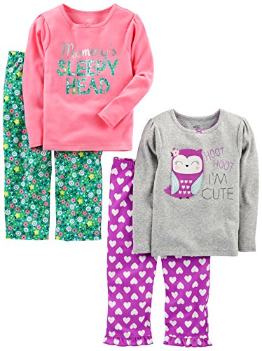 Girls Fleece Pj Sleepwear (Simple Joys by Carter's Baby Girls' Toddler 4 Piece Pajama Set, Owl/Floral, 4T)