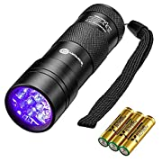 #LightningDeal TaoTronics Black Light, 12 LEDs 395nm UV Blacklight Flashlights Detector for Pets Urine and Stains  with 3 Free AAA Batteries