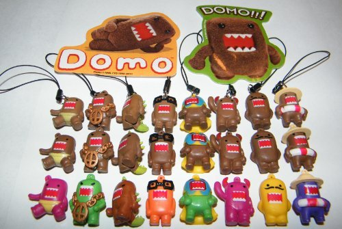 Domo Figure Charm Mega Set of 24 with Classic Brown, Colored and Fun Dangler Figures