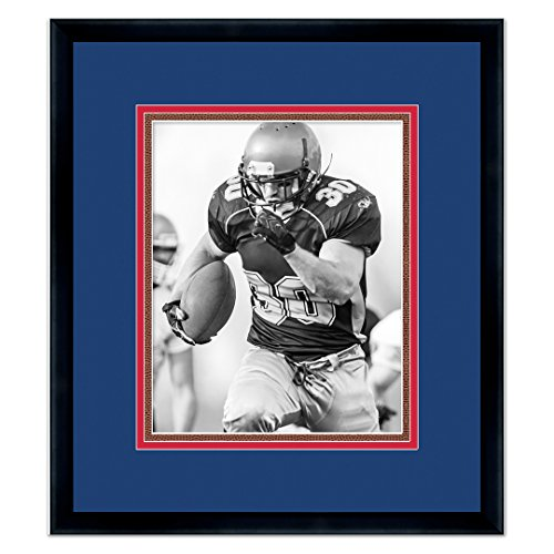 Buffalo Bills Black Wood Frame for a 8x10 Photo with a Triple Mat - Royal Blue, Red, and Football Textured - Wood Autographs