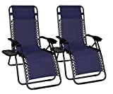 Odaof Zero Gravity Chair Recliner Outdoor Patio Lounge Chair W/Cup Holder, 2 Pack, Blue Review