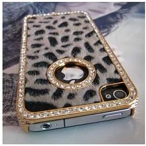SODIAL(TM) Luxury Designer Bling Crystal Leopard Cheetah Fur Hard Case Cover for Apple IPhone 4 4S