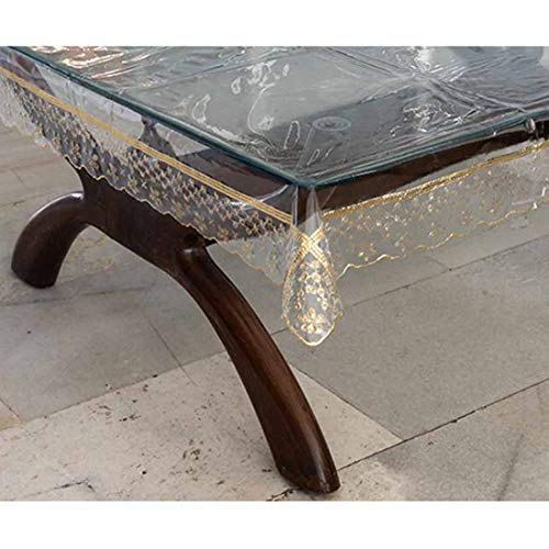 OrientalWeavers Decojewels PVC Waterproof Transparent Reversible 6 Seater Dining Table Cover, 54″ X 78″, Rectangle Shape with Seamless Golden Border (No Joints/ Inbuilt Lace)(137 cm X 198 cm), fit for table top 2.5ft x 5 ft to 4ft x 6 ft Price & Reviews
