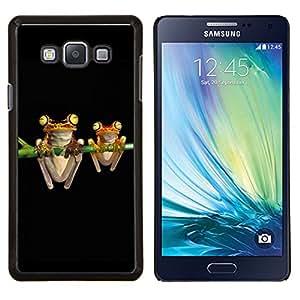 YiPhone /// Prima de resorte delgada de la cubierta del caso de Shell Armor - Ranas Arte Noche Negro Dibujo verde de dibujos animados - Samsung Galaxy A7 A7000