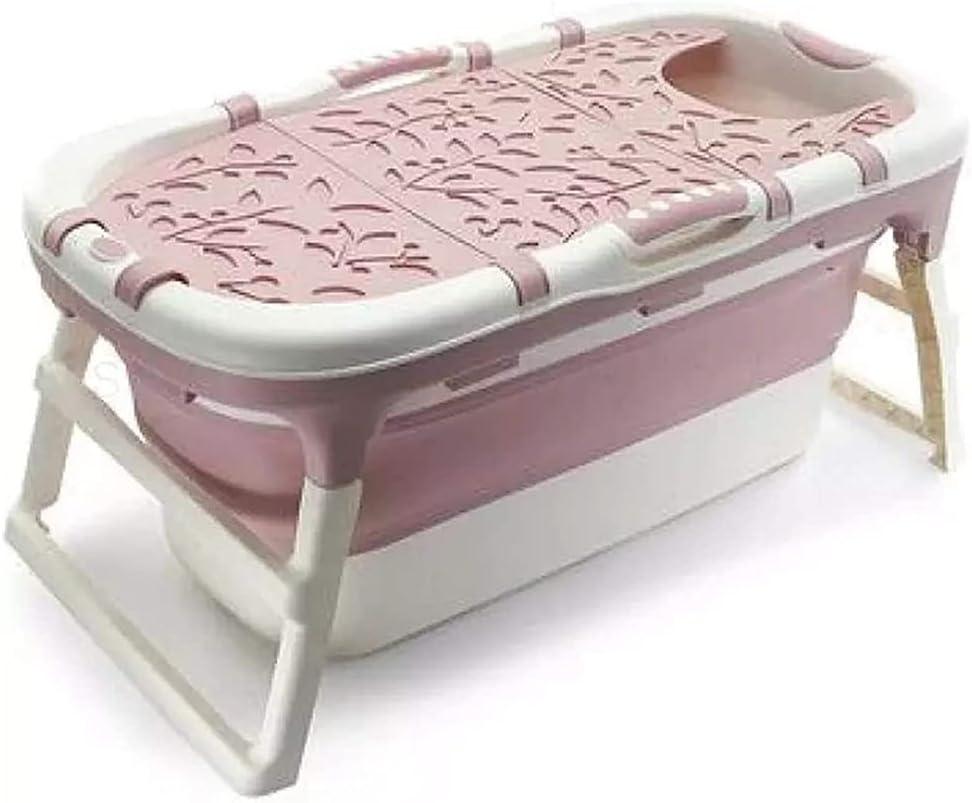 Sits Bañera portátil para Adultos Cubo de baño portátil de Gran Capacidad Canasta de Silicona Bañera para Mascotas Bañera de plástico para niños, se Puede sentar, con Tapa (Color : Brown)