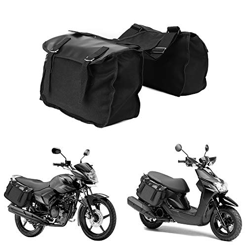 Motorcycle Saddle Bags Panniers for Honda Yamaha Suzuki Sportster Kawaski Motorcycle Scooter Saddle Bag (Black)