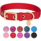 "Blueberry Pet 6 Colors The Most Coveted Designer Mixed Metallic Thread Dog Collar in Sparkling True Red with Metal Buckle, Small, Neck 9-12.5"", Adjustable Collars for Dogs"