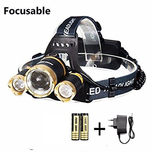 5000lm LED Kopflampen,CAMTOA Fackel 4 Modus Frontleuchte 2 x wiederaufladbare Batterien + Ladegerät für Outdoor-Sport-Fahrrad, Radfahren, Radfahren, Wandern, Camping, Nachtfahrten , Höhlenexpedition