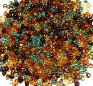 Steven_store SB1909 Autumn Forest Brown Yellow Teal 6/0 4mm Glass Seed Bead Premium Mix 1oz Making Beading Beaded Necklaces Yoga Bracelets