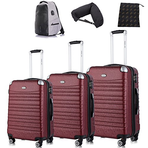 Expandable Luggage Sets, TSA Lightweight Spinner Luggage Set, ABS Plane Flight Baggage, 4 Twin Wheels, Luggage 3 Piece Set, Red