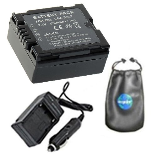 amsahr Digital Replacement Digital Camera and Camcorder Battery PLUS Mini Battery Travel Charger for Panasonic CGA-DU07, CGA-DU06, CGA-DU14, CGA-DU21 - Includes Lens Accessories Pouch ()