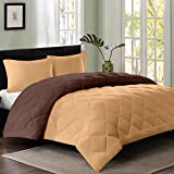 Reversible AC Double Bed Comforter/Blanket/Quilt/Duvet For Winters- Light Brown & Dark Brown-By Cloth Fusion