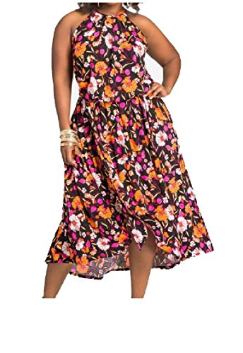 Coolred-femmes Impression Sans Manches Sexy Floral Casual Robes Grande Taille As1
