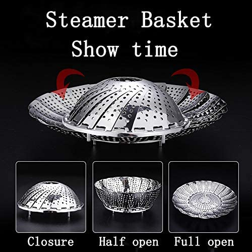 """51bNyNcNFhL. AC Steamer Basket, Stainless Steel Expandable Steamer Basket for Veggie/Seafood Cooking/Boiled Eggs-Folding Steamers to Fits Various Size Pot (6.1"""" to 10.6"""")    Product Description"""