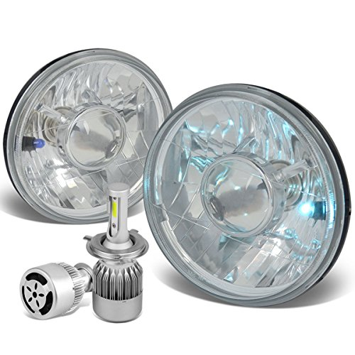7X7 inches H6024 Round Chrome Housing Glass Lens Headlight Lamps Set of 2 + H4 LED Conversion Kit W/Fan