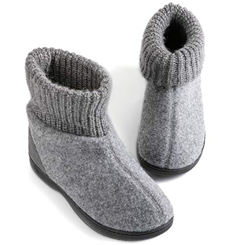 Zigzagger Womens Girls Wool-Like Blend Bootie Slippers Polar Fleece Lining with Adjustable Knit Collar House Shoes Grey 6 M US (Feet Slippers Polar)