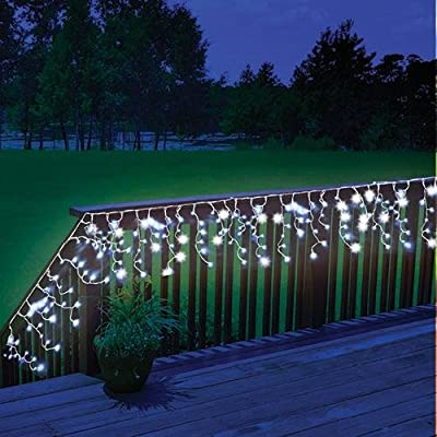 Solar Powered LED Outdoor Christmas Decoration Icicle Lights