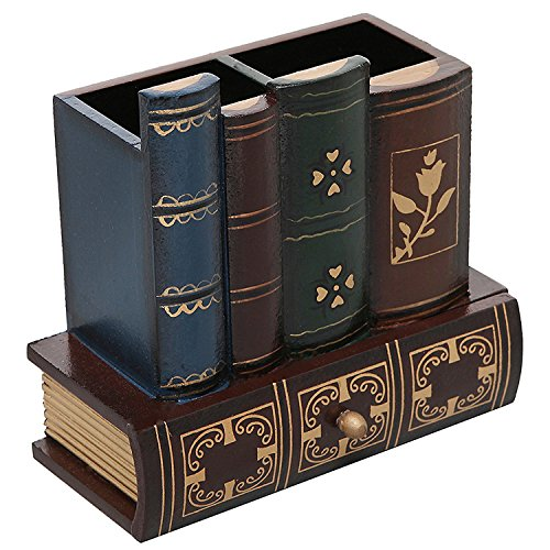Decorative Library Books Design Wooden Office Supply Caddy Pencil Holder Organizer with Bottom Drawer ()